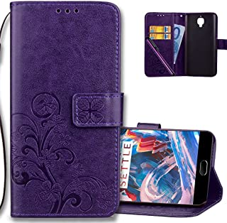 OnePlus 3 Wallet Case Leather COTDINFORCA Premium PU Embossed Design Magnetic Closure Protective Cover with Card Slots for OnePlus 3T / OnePlus 3. Luck Clover Purple