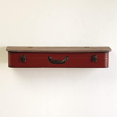 The Lakeside Collection Vintage Style Suitcase Aesthetic Wall Hanging Open-Top Shelves - Red