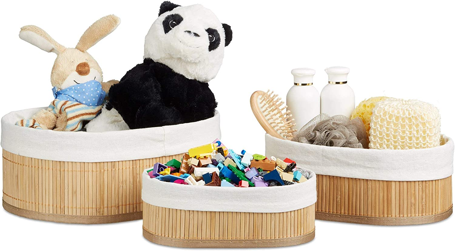 Relaxdays Bamboo Set of Shelf Baskets 12.5 Oval 22 32 cm x Super Special SALE 5 ☆ very popular held