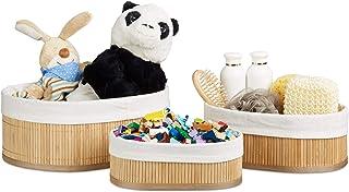 Relaxdays Boîte de rangement en bambou lot de 3 paniers ovales HxlxP 12,5 x 32 x 22 cm pour étagère et armoire, nature