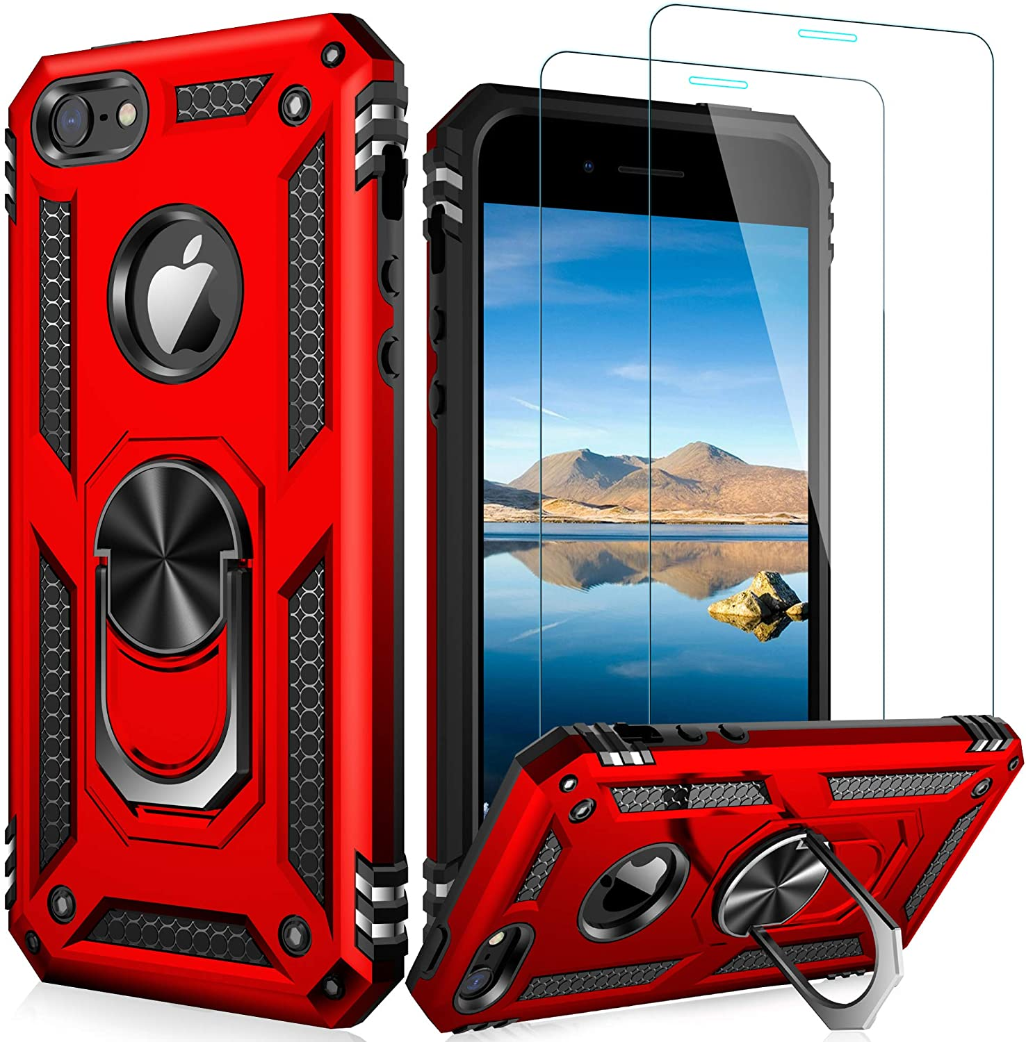 LUMARKE iPhone SE Case(2016),iPhone 5s Case,iPhone 5 Case with Tempered Glass Sreen Protector,Pass 16ft Drop Test Military Grade Cover Protective Phone Case for iPhone 5/5s/SE 2016 Red