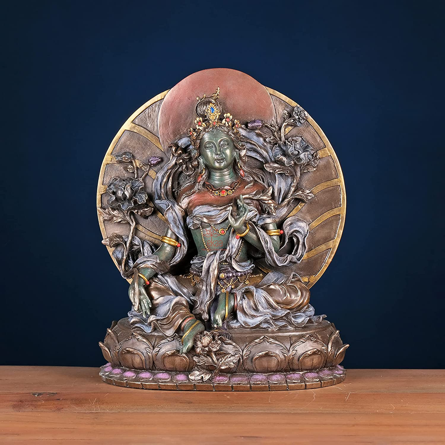 Ekaa Handicrafts Antique outlet Cold Cast Sitting New Shipping Free Shipping Green Bronze Sho Tara