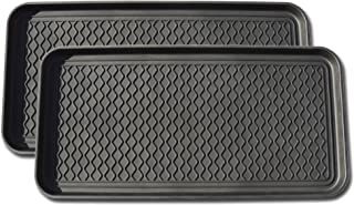 Multi-purpose Tray By Alex Carseon, for Boots, Shoes, Paint, Pets, Garden, Laundry, Kitchen, Pantry, Car, Entryway, Garage, Mudroom. Indoor-outdoor Storage and Floor Protection, Use As Cat Litter Mat or Dog Feeding Mat - 30x15x1.2 Inches (Black, Set of 2)