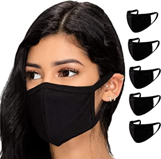 5 Pack Face Mouth Cotton Fabric Cloth Protect Adult Unisex Women Men Reusable Breathable Washable Comfort Safety for Dust ...