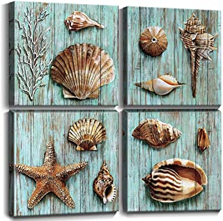 Nautical Beach Bathroom Wall Art Ocean Themed Home Decor Coastal Blue Shell Canvas Set of..