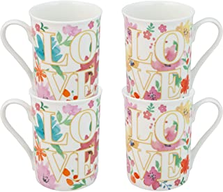 Grace Teaware Bone China Floral Coffee Tea Mugs 12-Ounce, Set of 4 (Love)