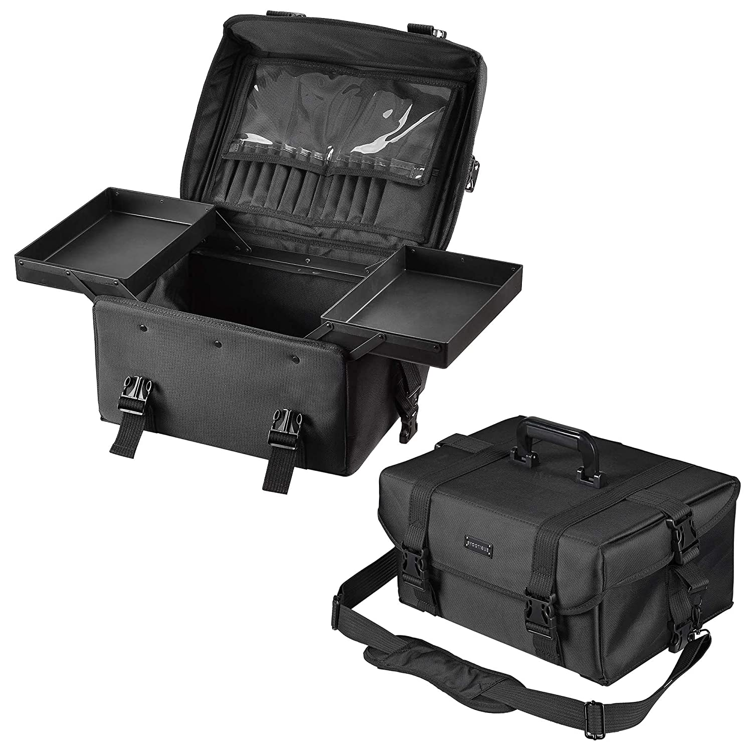 2 35% OFF in 1 Max 90% OFF Pro Oxford Rolling Train Case Black Cosmetic Makeup