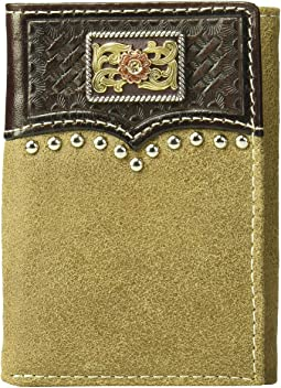 Overlay w/ Tri-Tone Concho Trifold Wallet