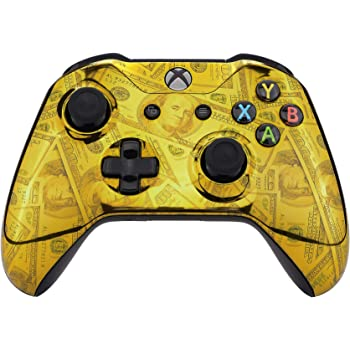 eXtremeRate Chrome Gold 100 Cash Money Dollar Front Housing Shell Case, Glossy Patterned Faceplate Cover Replacement Kit for Xbox One S & One X Controller (Model 1708)