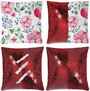 Huayuanhurug Natural Botanic Garden Plants with Roses Leaves and Pomegranates Romantic Image Throw Pillow Case Sequin Cushion Cover Reversible for Couch Decoration 18