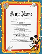 DISNEY Mickey Mouse - Personalized ANY First Name Meaning Keepsake Print 8.5