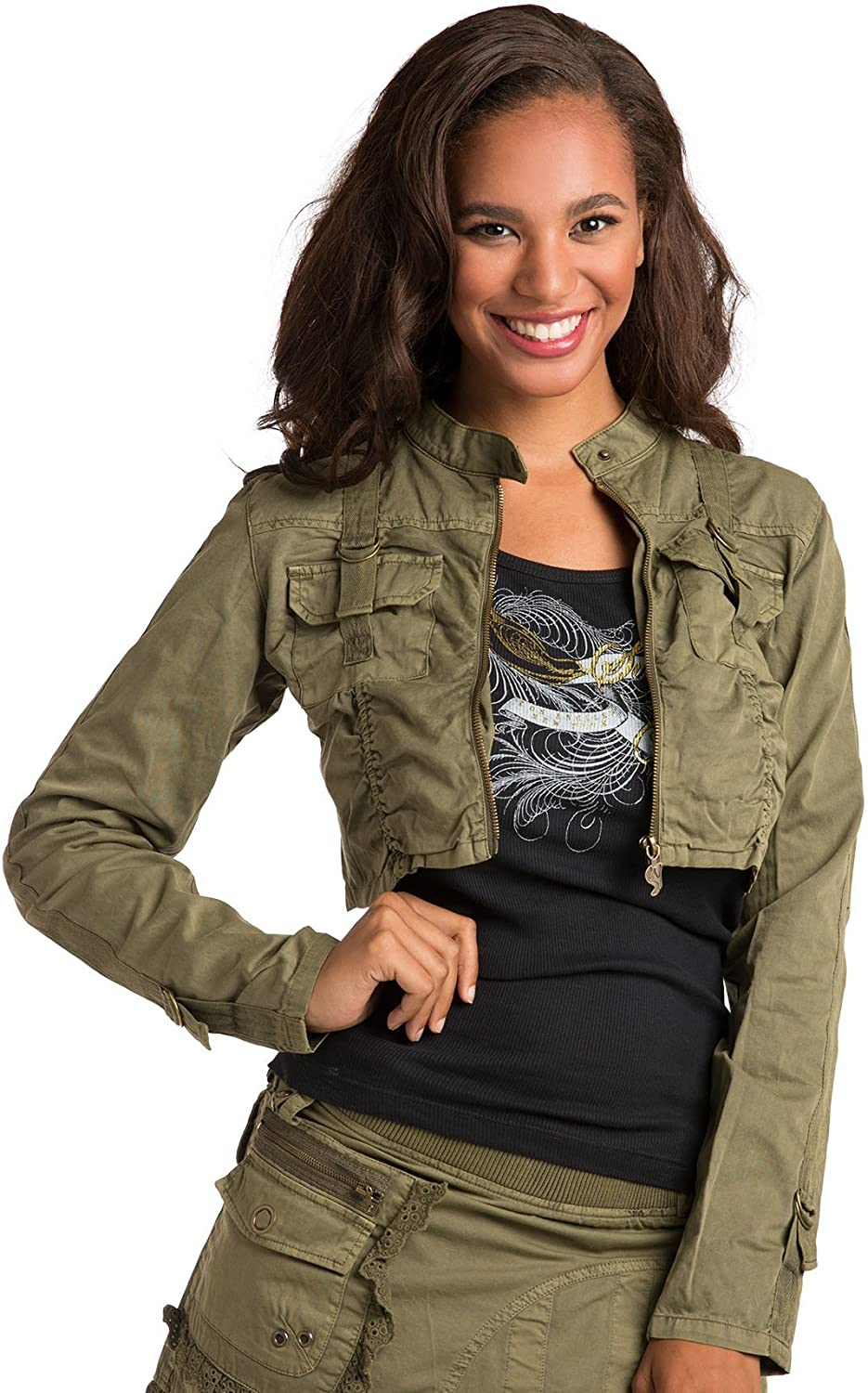 Sweet Vibes Junior Womens Utility Jackets Stretch Twill Garment Dyed Lace Strap
