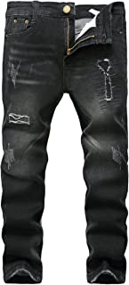 FREDD MARSHALL Boy's Black Skinny Ripped Destroyed Distressed Stretch Slim Fit Denim Jeans Pant