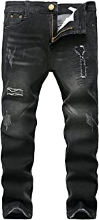 Boy's Black Skinny Ripped Destroyed Distressed Stretch Slim Fit Denim Jeans Pant