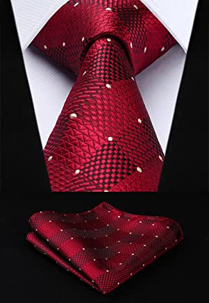 HISDERN Business Ties for Men Classic Plaid Check Tie + Handkerchief Set Elagant Men's Striped Necktie & Pocket Square Set