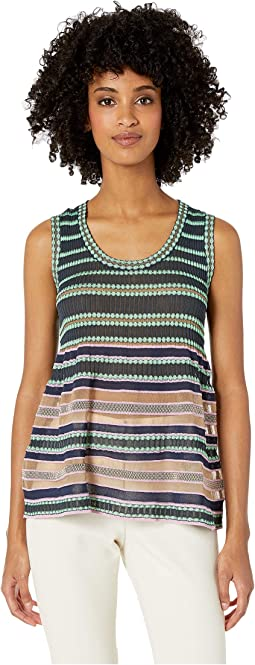 Sleeveless Top in Sheer Stripes