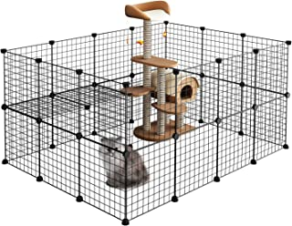 LANGRIA Pet Playpen, DIY Small Animal Cage for Guinea Pigs, Puppy,Rabbit | Pet Products Portable Metal Wire Yard Fence (Black)