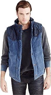7df28414b True Religion Mens Reversible Puffer Denim Corduroy Vest Jacket In Indigo