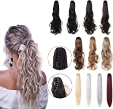 XBwig Straight Curly Soft Synthetic Clip in Claw Ponytail Hair Extension Synthetic Hairpiece with a jaw/Claw Clip 18