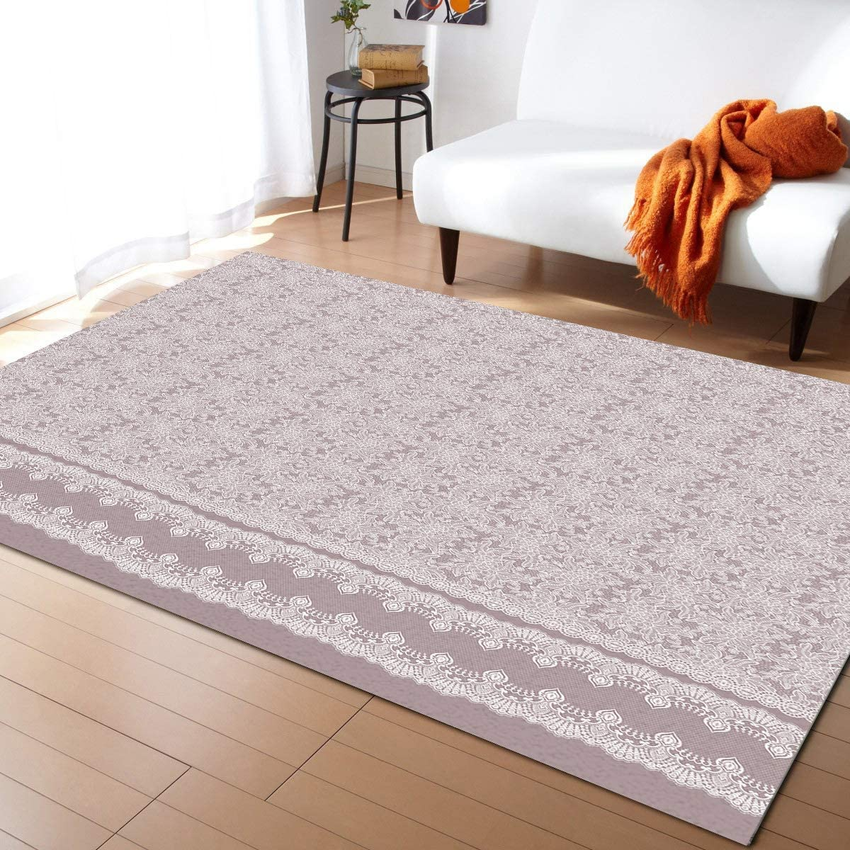 Olivefox Ranking TOP11 5x8 Feet Area Rug Floor Pink Pattern on Purpl Mat Don't miss the campaign Lace