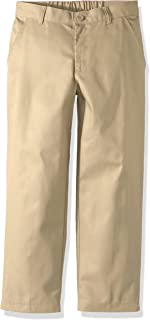 (khaki, 14h) - REAL SCHOOL Boys Husky Size Flat Front Pants School Uniform Approved