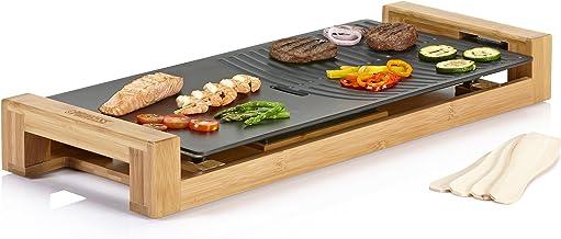 Princess Bamboe tafelgrill/Teppanyaki Grill - met vlakke en geribbelde grillplaat (50 x 25 cm) en 4 houten spatels 103025 ...