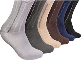 Pierre Donna Men's Crew Socks 6 Pack Breathable Casual Socks - 100% Cotton