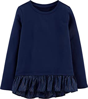 OshKosh B'Gosh Girls Navy Cotton French Terry Long Sleeve Top with Twill Peplum Hem with Rainbow Metallic Details, Size 4