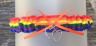 SEXY Orange Rainbow Wedding Tossing Demi Bridal Garter - Double heart Charm