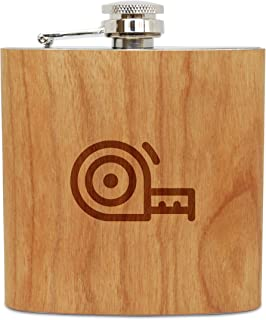 WOODEN ACCESSORIES COMPANY Cherry Wood Flask With Stainless Steel Body - Laser Engraved Flask With Measuring Tape Design - 6 Oz Wood Hip Flask Handmade In USA