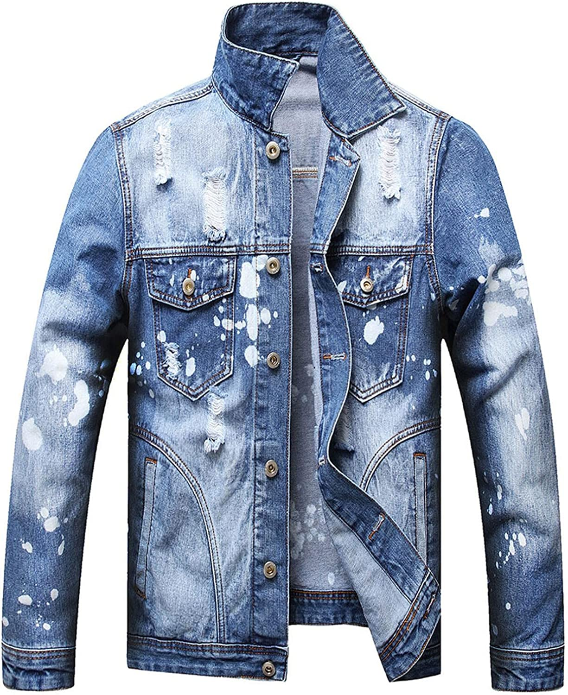 Beshion Men's Denim Jacket Ripped Long Sleeve Distressed Jean Coat for Men Loose Collar Pocket Hole Trucker Jacket