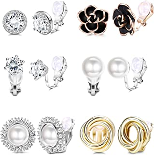 YADOCA 6 Pairs Clip Earrings for Women Rose Flower CZ Simulated Freshwater Pearl Twist Knot Non Pierced Clip On Earrings Hypoallergenic Jewelry