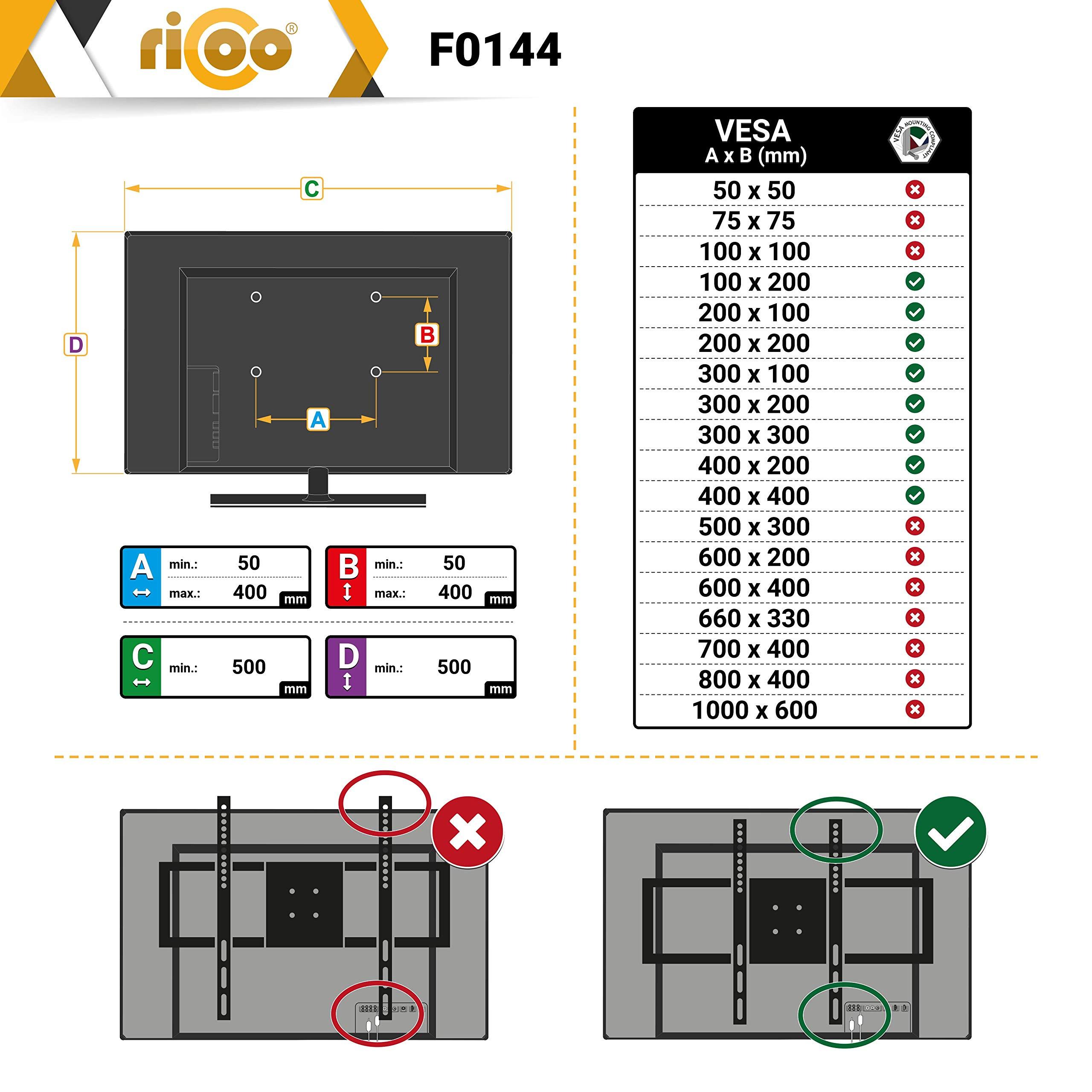 RICOO F0144, Soporte TV Pared, Fijo, Plano, Ultra Delgado, Televisión 26-55