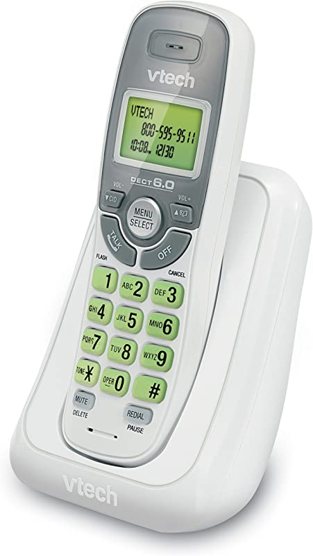 VTech CS6114 DECT 6 0 Cordless Phone With Caller ID Call Waiting White Grey With 1 Handset