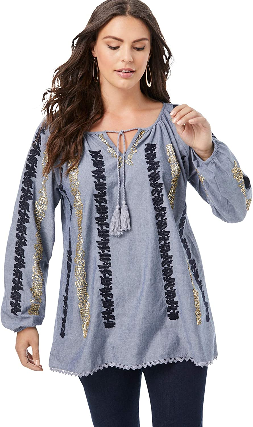 Roamans Women's 完全送料無料 Plus Size Embellished Embroidere Top Sequin 正規激安 Boho