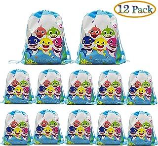 12 pcs Baby Shark Drawstring Backpack, Cute Shark Gift Favor Bags for Shark Party Shark Birthday party Supplies
