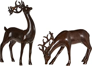 Set of 2 Holiday Reindeer Figures: 12 Inch Faux Mahogany Wood Reindeer Decor by RAZ Imports