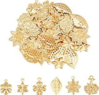 UNICRAFTALE About 36pcs 6 Styles Snowflake/Flower/Leaf/Sun Flower/Tree of Life/Clover Charms Stainless Steel Pendants Gold...