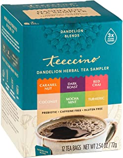 Teeccino Dandelion Tea Sampler – Caramel, Coconut, Dark Roast, Mocha Mint, Red Chai, Turmeric – Roasted Herbal Tea That's ...