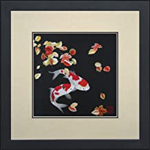 King Silk Art 100% Handmade Embroidery Framed Pair of Red & White Japanese Koi with Maple Leaves Oriental Wall Hanging Art...