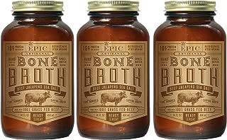 EPIC Beef Jalapeno Sea Salt Bone Broth, Grass-Fed 3 Count 14fl oz jars