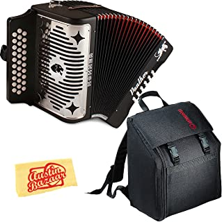 Hohner Panther Diatonic Accordion - Keys F/Bb/Eb Bundle with Gig Bag and Austin Bazaar Polishing Cloth