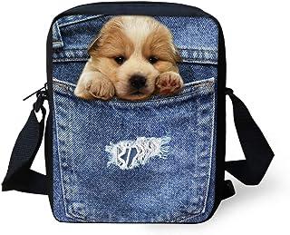 HUGS IDEA Pocket Dog Printed Small Crossbody Bags Shoulder Handbag Cute Cellphone Pouch Purse Wallet Satchel