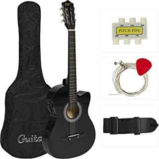 Best Choice Products 38in Beginners Acoustic Electric Cutaway Guitar w/ Case, Extra Strings, Strap, Tuner, Pick - Black