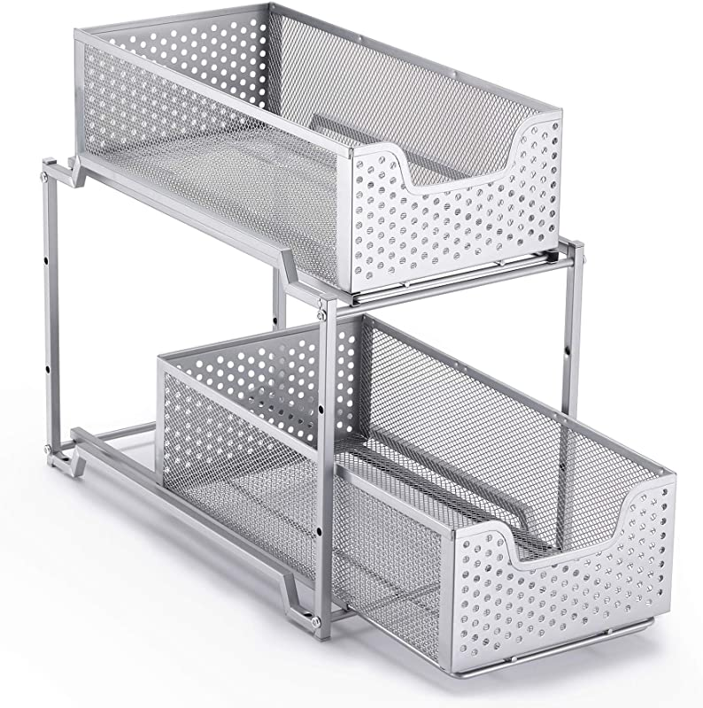 Simple Trending Stackable 2 Tier Under Sink Cabinet Organizer With Sliding Storage Drawer Silver
