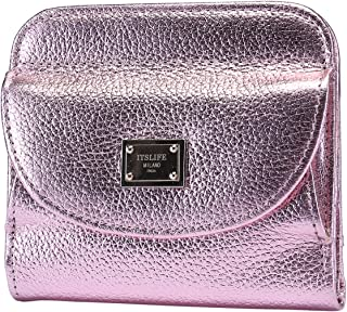 Itslife Women's Small Leather Wallet RFID Card Holder Mini Bifold Ladies Flat Purse with Coin Pouch (Pink)