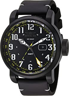 Invicta Men's Aviator Stainless Steel Swiss-Quartz Watch with Leather Calfskin Strap, Black, 26 (Model: 22253