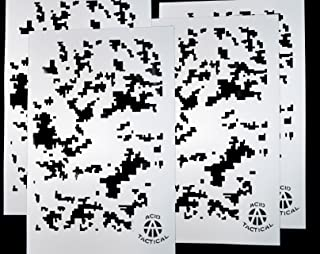 AcidTactical 4 Pack - 9x14 Camouflage Airbrush Spray Paint Stencils - Duracoat Cerakote Gun (Digital Camo x4)