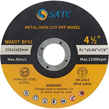 "Metal /& Stainless Steel Cutting Discs 100 Pcs 5/""x0.040/""x7//8/"" Cut-off Wheel"