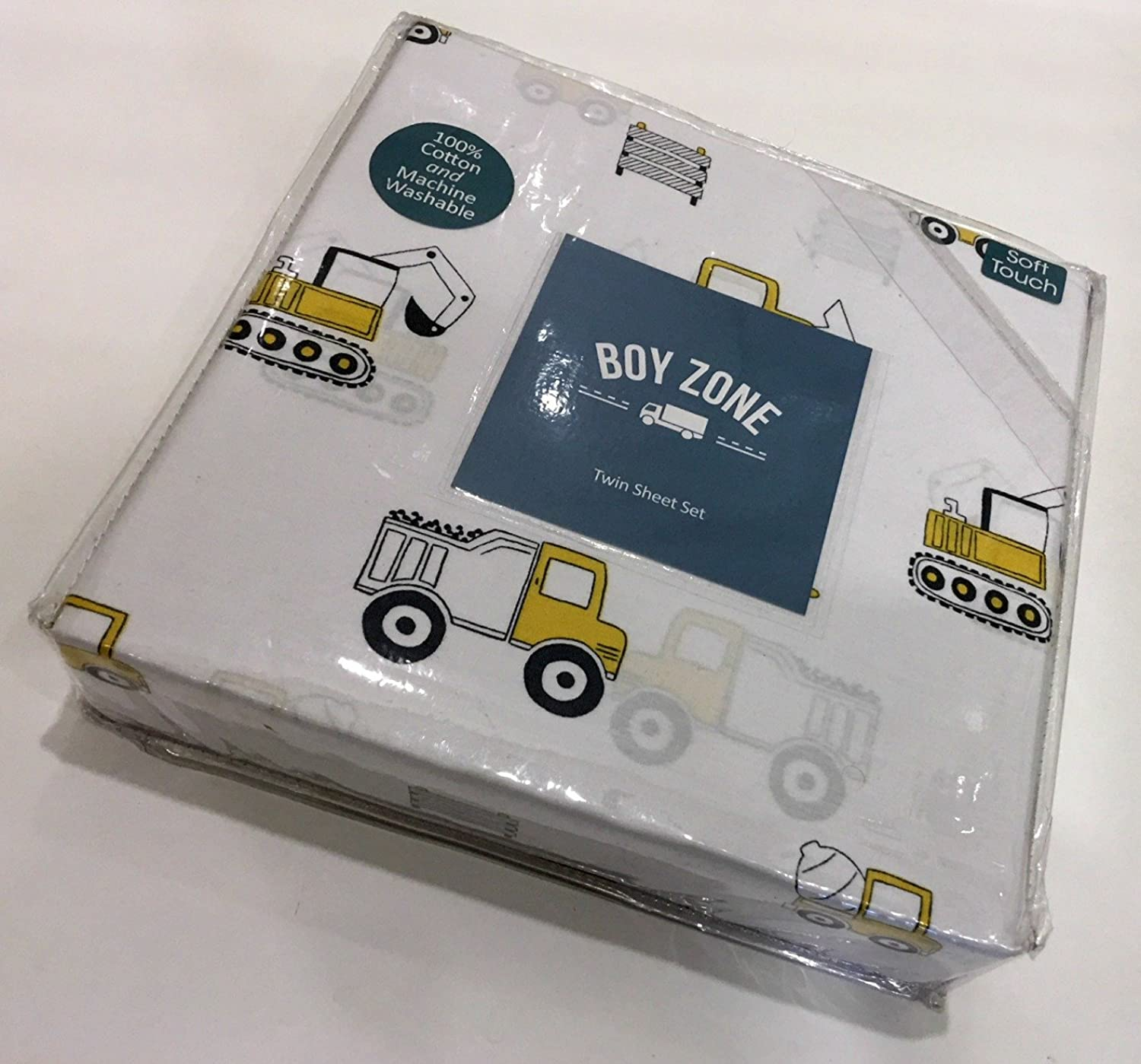 Boy Zone Twin Sheet Set Construction Vehicles   100% Easy-Care Cotton